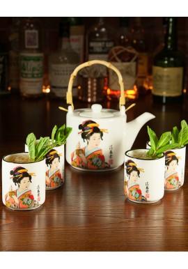 Teiera Geisha con 4 Tazze Mug