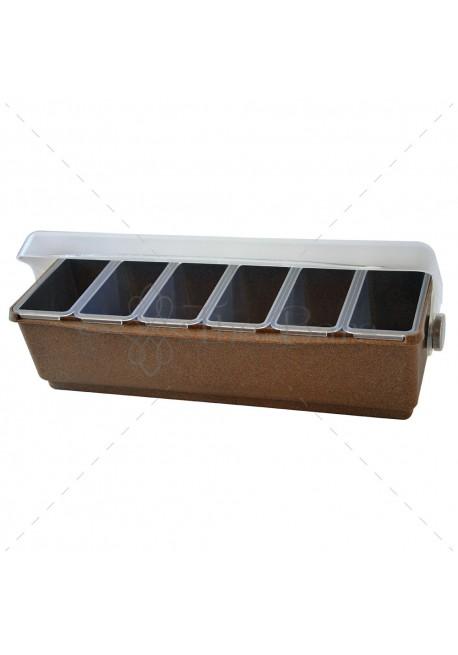 Bar Condiment Professionale in Eco Legno 6 vaschette
